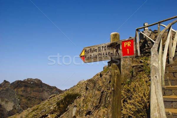 Felirat Madeira csúcs sziget Portugália tájkép Stock fotó © dinozzaver