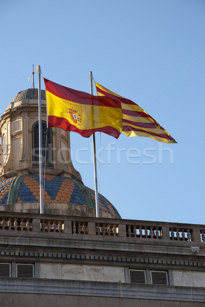 Spanish and Catalan flag Stock photo © dinozzaver