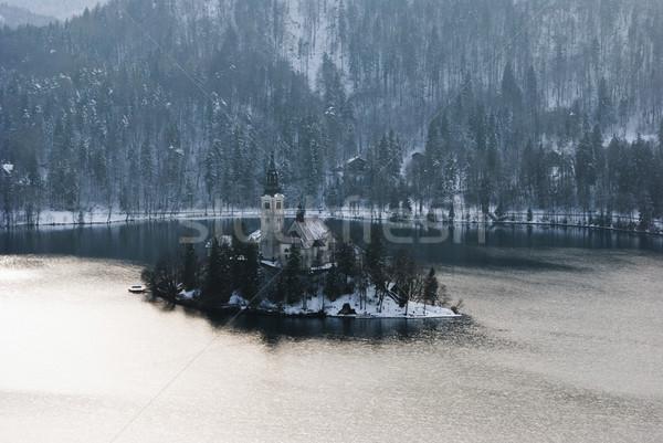 Сток-фото: озеро · Словения · зима · небе · воды