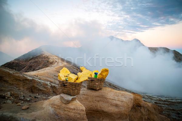 Индонезия вулкан кратер Ява человека природы Сток-фото © dinozzaver