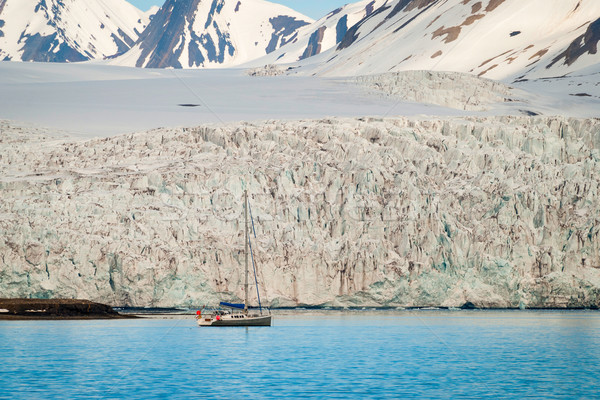 Sailing boat in front of the glacier in Svalbard, Arctic Stock photo © dinozzaver