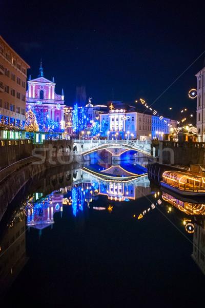 Decoração Eslovenia natal luz rua igreja Foto stock © dinozzaver