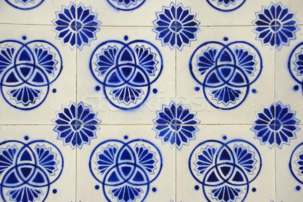 タイル 典型的な テクスチャ 壁 青 階 ストックフォト © dinozzaver