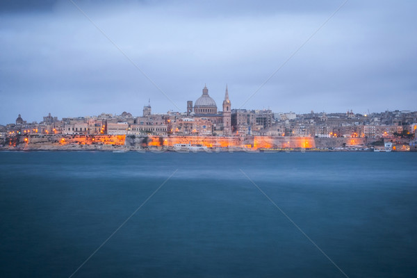 Valletta, capital of Malta at night Stock photo © dinozzaver