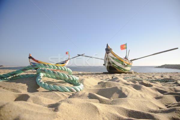 Vecchio pesca barche tipico corda spiaggia Foto d'archivio © dinozzaver