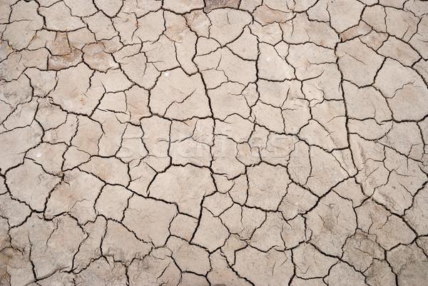 Drogen gebarsten bodem textuur landschap zomer Stockfoto © dinozzaver