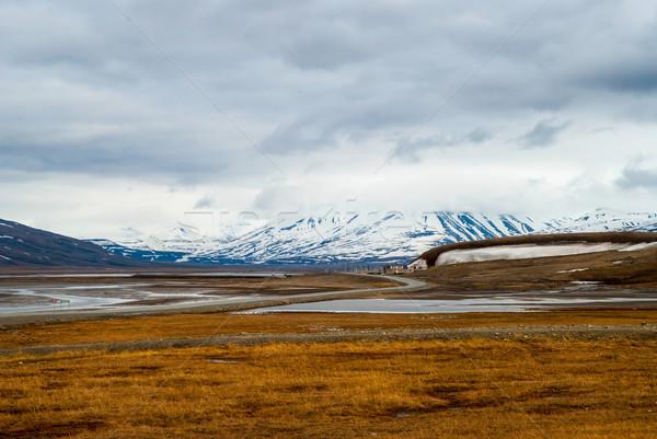 Арктика лет воды пейзаж морем снега Сток-фото © dinozzaver
