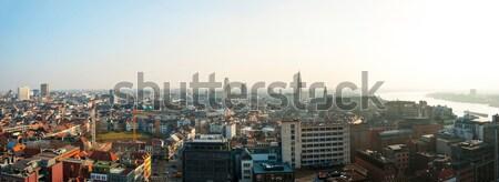 Panorama Belçika şehir gökyüzü sokak kentsel Stok fotoğraf © dinozzaver