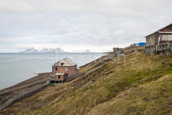 Abandoned house in Barentsburg, Russian settlement in Svalbard Stock photo © dinozzaver