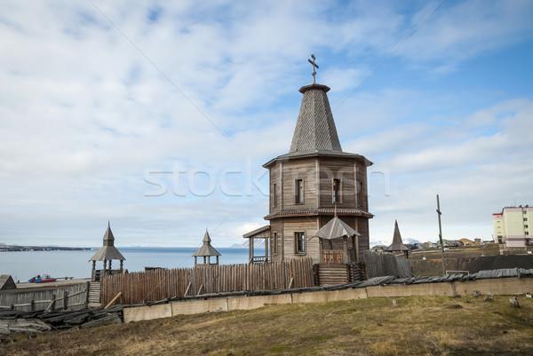 Orosz ortodox templom város kereszt ipar Stock fotó © dinozzaver