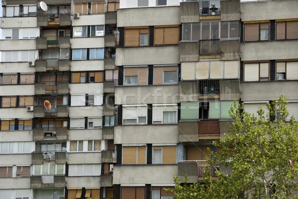 Tipik Sırbistan üzücü Bina ev pencere Stok fotoğraf © dinozzaver