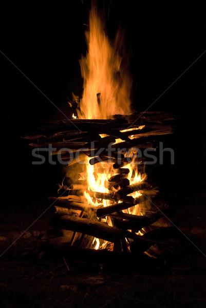 Büyük kamp ateşi yanan ahşap doğa turuncu Stok fotoğraf © dinozzaver