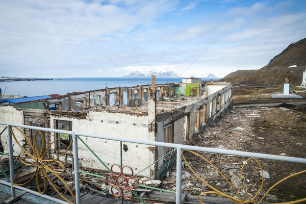 Destroyed buildings in Barentsburg, russian city in Svalbard Stock photo © dinozzaver