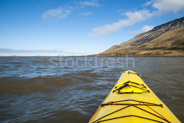 Kayaking on the sea in Svalbard, first person view Stock photo © dinozzaver