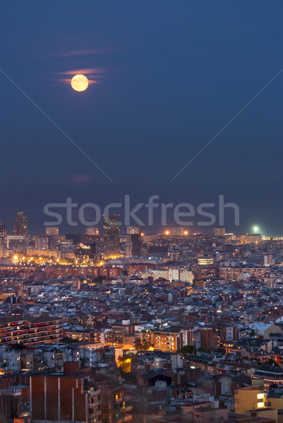 Barcelona at Night, Spain Stock photo © dinozzaver