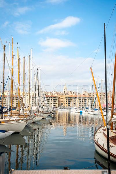 Kikötő kikötő Marseille Franciaország város tenger Stock fotó © dinozzaver