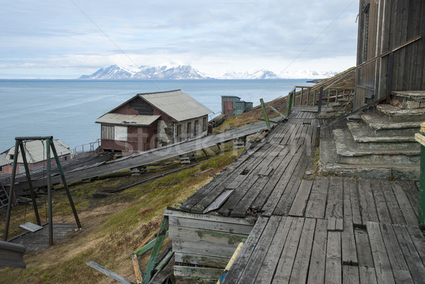Abandoned house in Barentsburg, Russian settlement in Svalbard Stock photo © dinozzaver