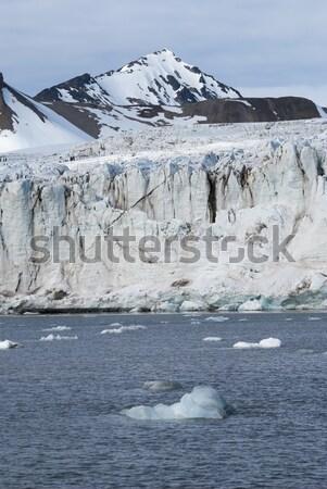 Gletsjer bergen achter zee berg Stockfoto © dinozzaver