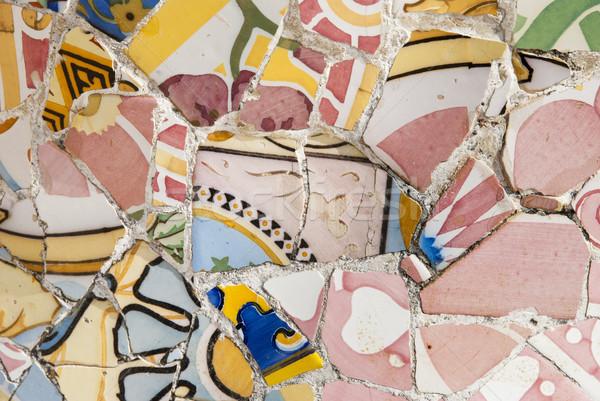 Tiles in Park Guell, Barcelona Stock photo © dinozzaver