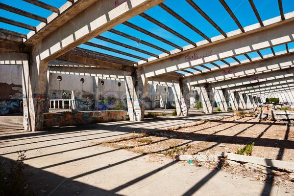 Foto stock: Interior · abandonado · fábrica · edifício · completo · grafite