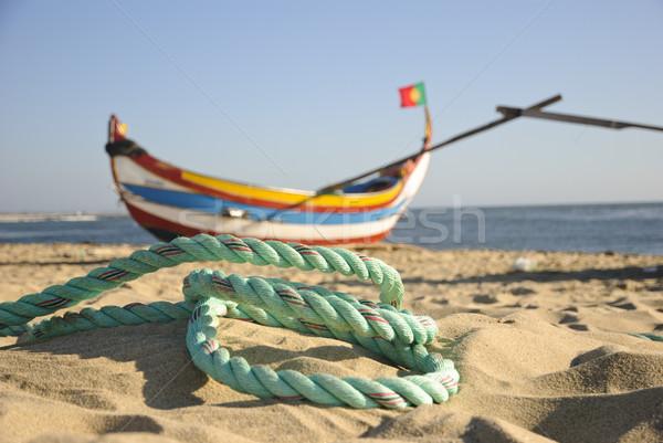 старые рыбалки лодках типичный веревку пляж Сток-фото © dinozzaver