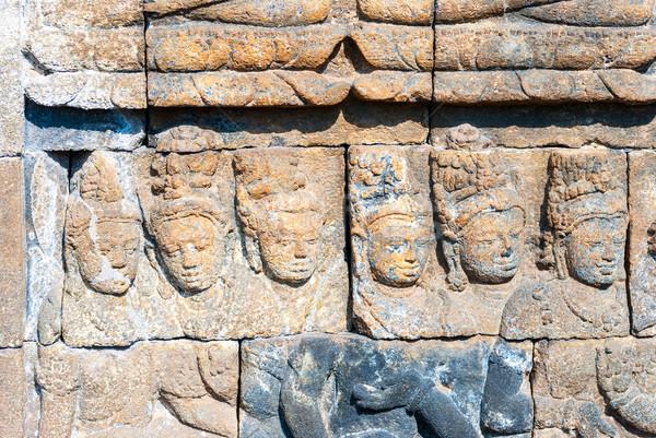 Templo pormenor Indonésia pedra deus cultura Foto stock © dinozzaver