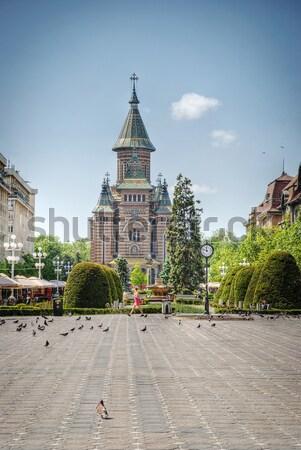 Ortodossa cattedrale Romania giardino hdr immagine Foto d'archivio © dinozzaver