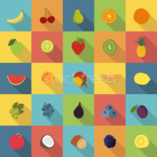 Foto stock: Frutas · iconos · vector · establecer · 25 · colorido