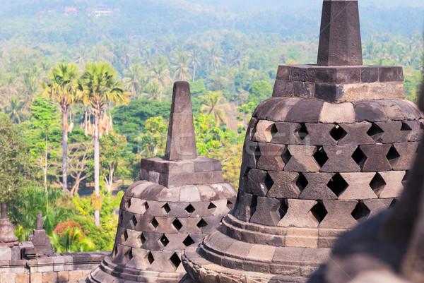 Budist tapınak Endonezya detay gün batımı arka plan Stok fotoğraf © dinozzaver