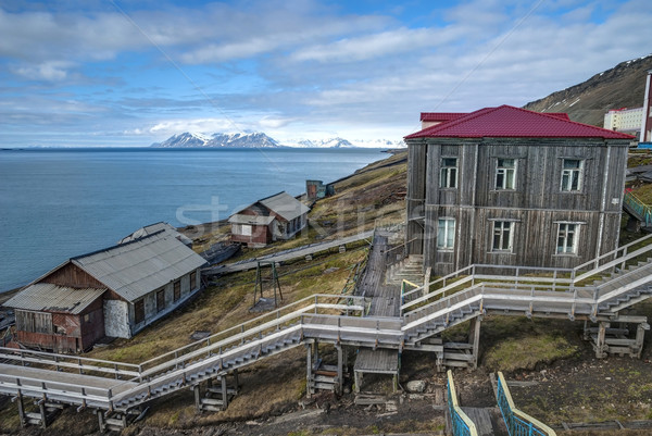 Stairway from the port in Barentsburg, Svalbard Stock photo © dinozzaver