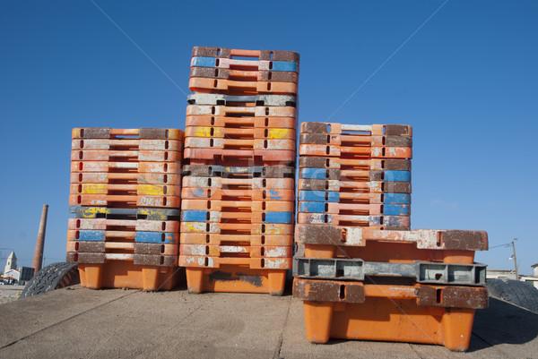 Naranja plástico cajas almacenamiento trabajo tecnología Foto stock © dinozzaver