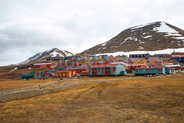 Cidade colorido casas casa natureza montanha Foto stock © dinozzaver