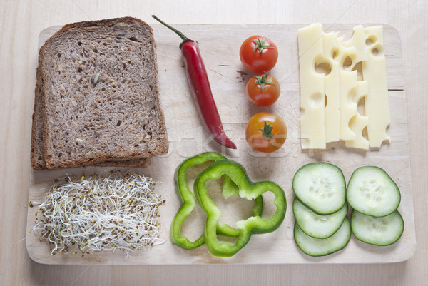 Rauw voedsel houten groenten achtergrond groene Stockfoto © dinozzaver