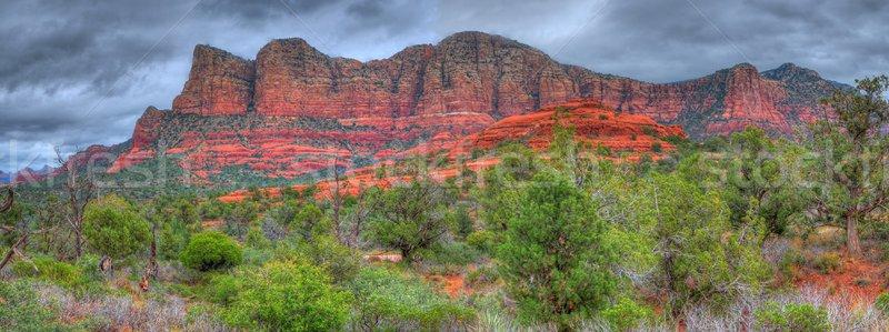 赤 岩 パノラマ 嵐 国 アリゾナ州 ストックフォト © diomedes66