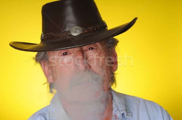 Old Cowboy smoking  Stock photo © diomedes66