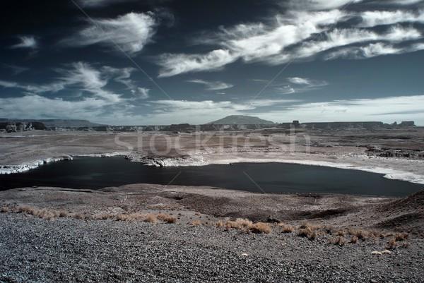湖 表示 アリゾナ州 砂漠 山 黒 ストックフォト © diomedes66