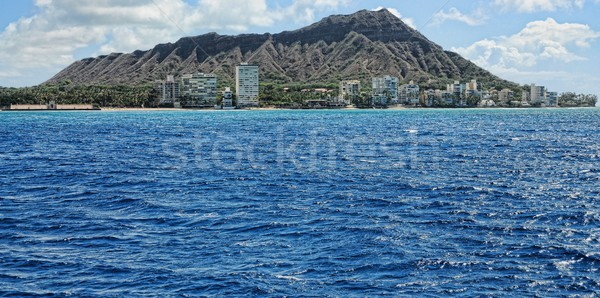 Kráter Waikiki tengerpart Honolulu Hawaii égbolt Stock fotó © diomedes66