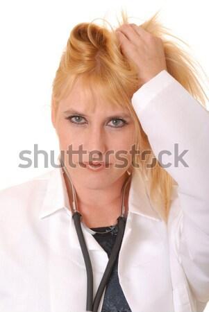 Plus size model blond dziewczyna odizolowany biały Zdjęcia stock © diomedes66
