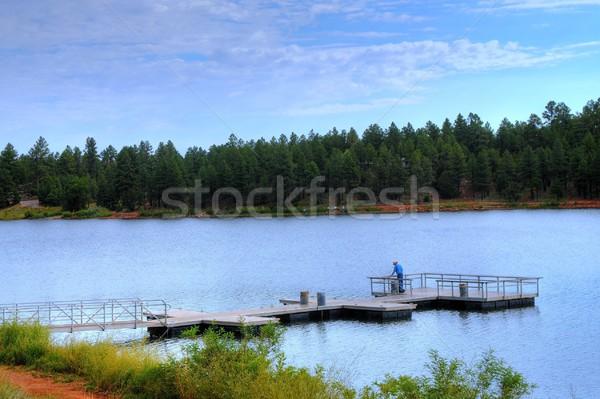 рыбалки пирс человека горные озеро весны Сток-фото © diomedes66
