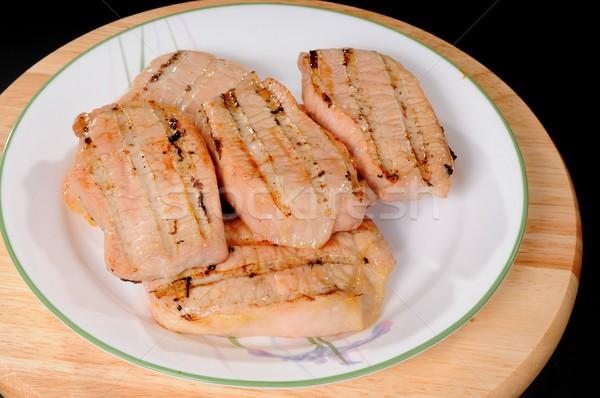 A la parrilla cerdo lomo filete alimentos placa Foto stock © diomedes66