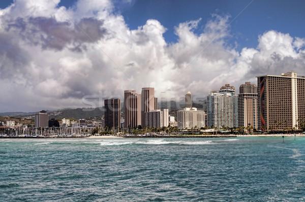 Honolulu Hawaii város USA tengerpart fa Stock fotó © diomedes66