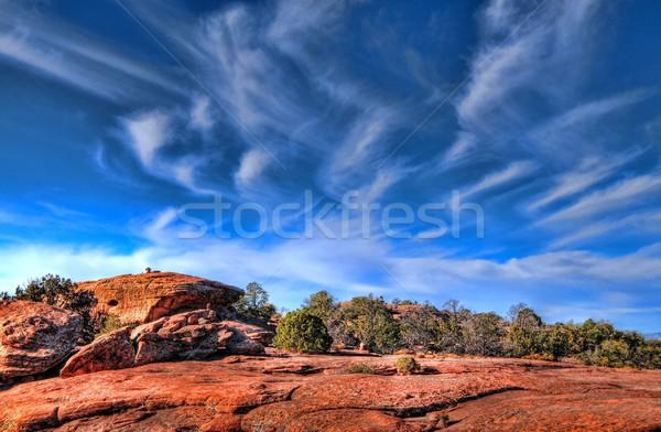 先頭 砂漠 山 開始 冬 空 ストックフォト © diomedes66