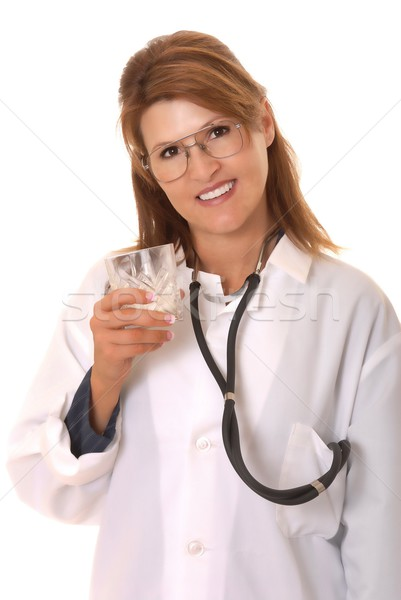 Lovely Doctor Or Nurse Drinking Milk Stock photo © diomedes66