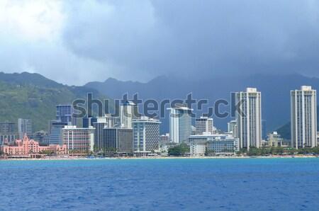 Honolulu Hawaii Waikiki tengerpart fa természet Stock fotó © diomedes66