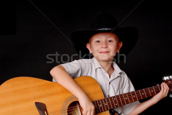 少年 ギター 着用 カウボーイハット 孤立した ストックフォト © diomedes66