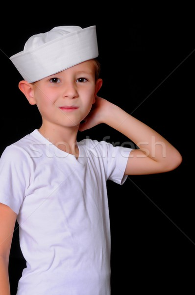 моряк мальчика Cap изолированный Сток-фото © diomedes66