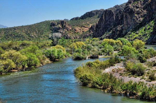 пустыне горные реке гор закат Сток-фото © diomedes66