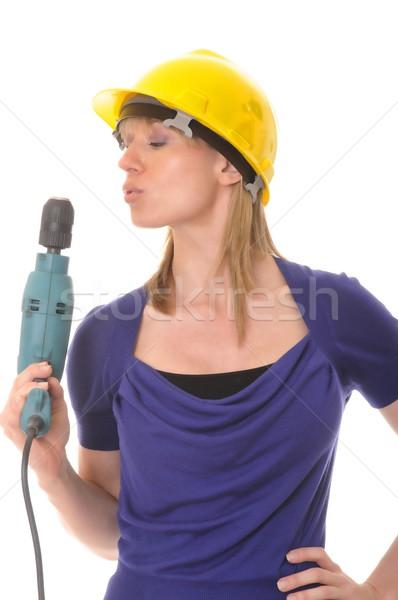 作業 少女 ブロンド 電気 ドリル ストックフォト © diomedes66