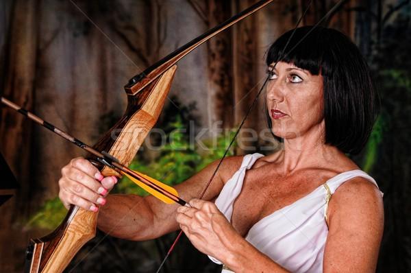 жесткий девушки лучник брюнетка лук стрелка Сток-фото © diomedes66