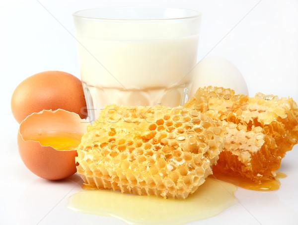 Milch Honig Gesundheit Ernährung Leben weiß Stock foto © Dionisvera